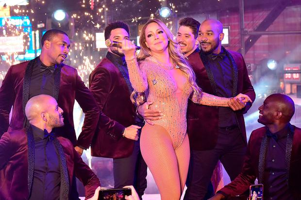 Mariah Carey onstage at New Year's Eve 2017 in Times Square in New York. Photo: Getty