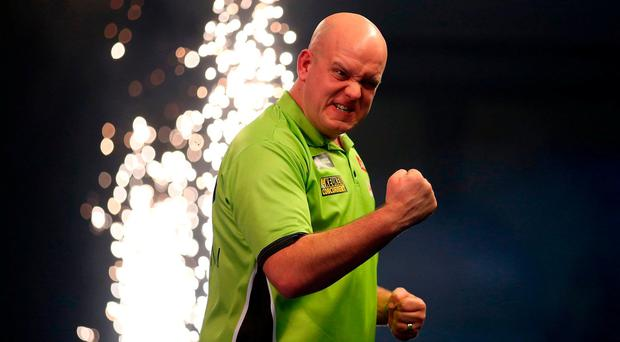 Michael van Gerwen celebrates at the William Hill World Darts Championship at Alexandra Palace