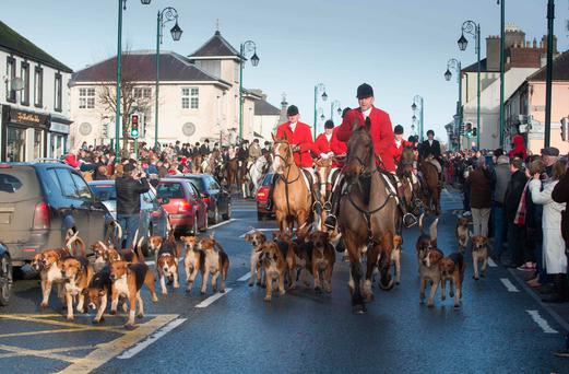 Led by huntsman Dermot Hanniffy, over 100 riders turned up for the Laois Hunt's St. Stephen's Day meet in Abbeyleix. Photo: Alf Harvey/HRPhoto.ie