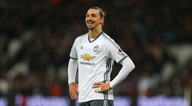 STRATFORD, ENGLAND - JANUARY 02: A smiling Zlatan Ibrahimovic of Manchester United during the Premier League match between West Ham United and Manchester United at London Stadium on January 2, 2017 in Stratford, England. (Photo by Catherine Ivill - AMA/Getty Images)