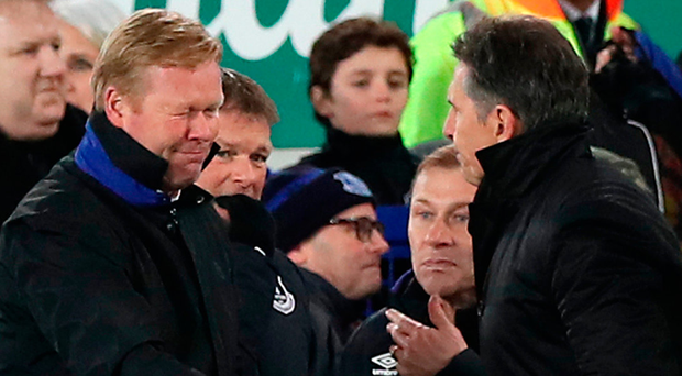 Southampton manager Claude Puel (right) and Everton manager Ronald Koeman shake hands after the final whistle. Photo: PA