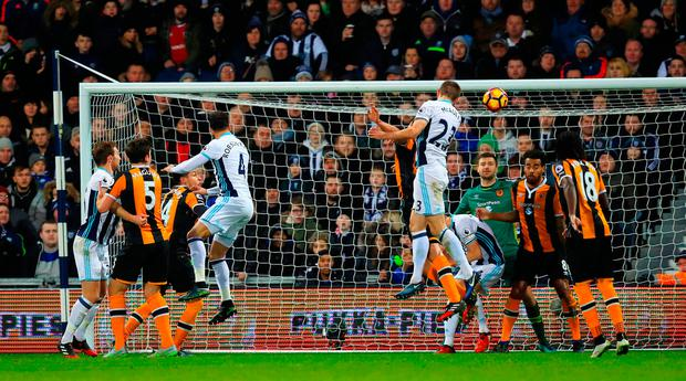West Bromwich Albion's Gareth McAuley scores his side's second goal of the game. Photo: PA