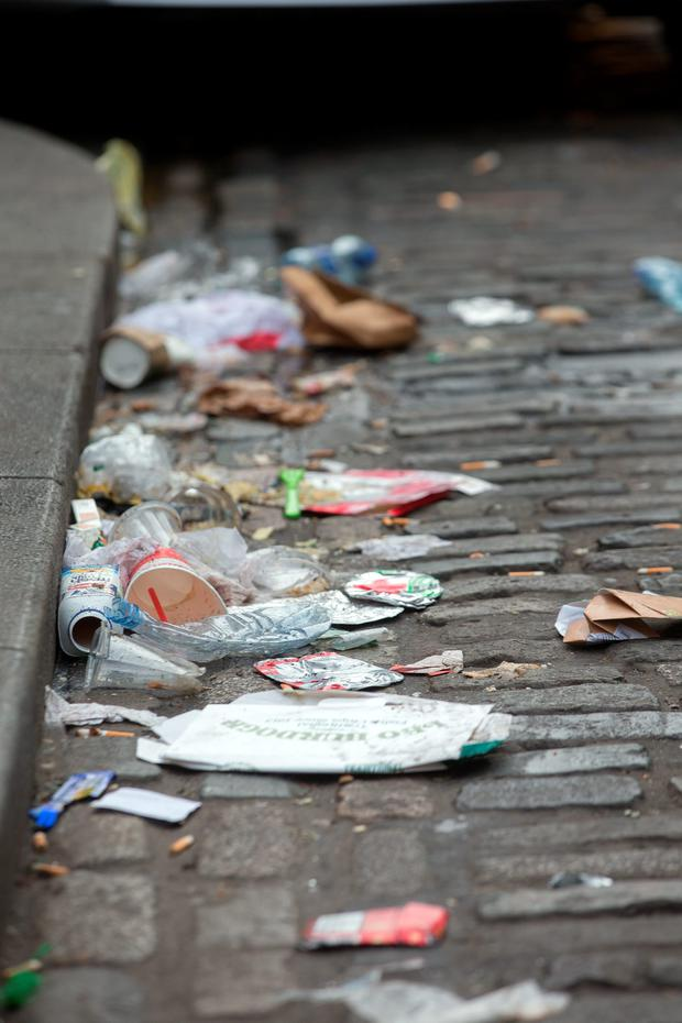 The annual league downgraded Dublin's north inner city from 'littered' to 'seriously littered'. Photo: Tony Gavin