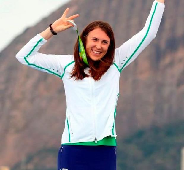 Ireland's Annalise Murphy celebrates with her silver medal. Photo: Martin Rickett/PA Wire