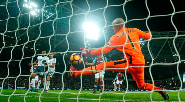 West Ham United's Darren Randolph makes a save. Photo: Reuters