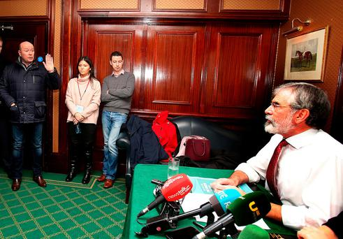 Austin Stack, son of prison officer Brian Stack, confronts Gerry Adams at Sinn Féin's launch of its Brexit document last month. Photo: Tom Burke