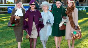 Overall Winner Gillian Gilbourne (Left), with best dressed finalists - Faith Almond from Carlow, Geraldine Shalvey , Foxrock ,Dublin, Louise Allen ,Slane Co Meath and Tara Hanniffey,Newbridge Co Kildare at The Cliff at Lyons Style Stakes at the Leopardstown Christmas Racing Festival. Picture: Brian McEvoy