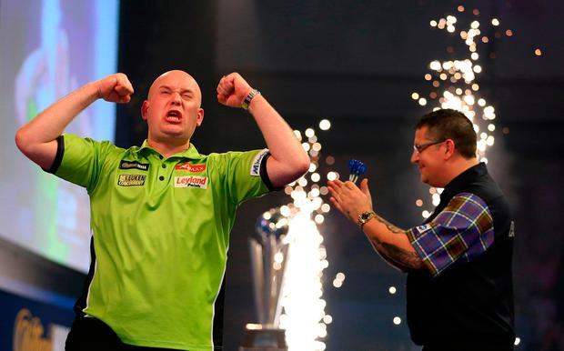 Michael van Gerwen celebrates
