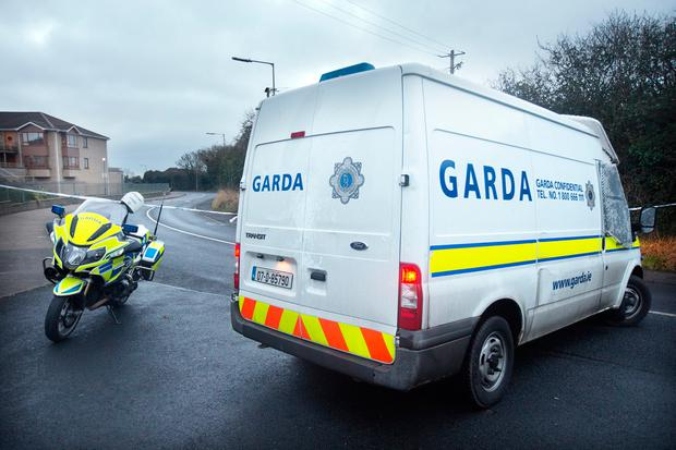 Gardaí at scene of car crash at Forest Road Swords this morning. Photo: Tony Gavin