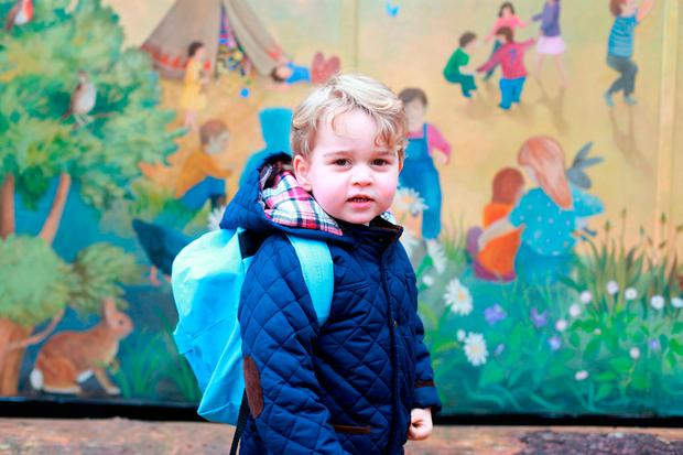 A photo of of Prince George on his first day at the Westacre Montessori nursery school, taken by his mother, the Duchess of Cambridge,