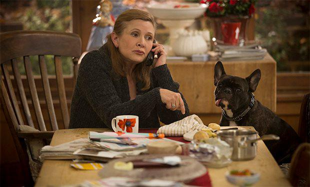 Carrie Fisher in Catastrophe with her beloved dog Gary
