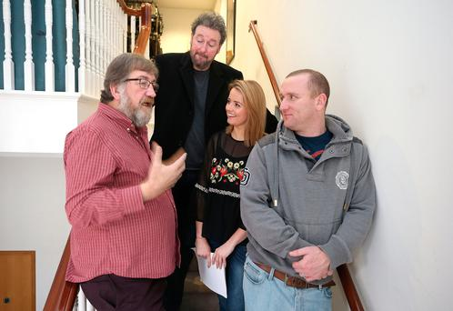 Director Alan Stanford with his actors Risteárd Cooper, McKeon and Rory Nolan. Photo: Damien Eagers