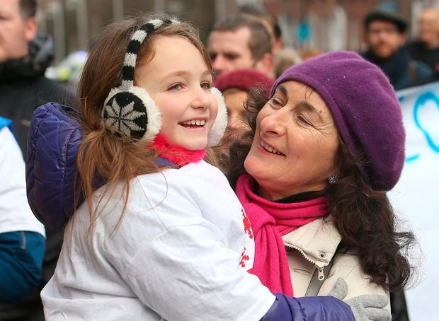 Mairead Hughes and granddaughter Alex Collins Hughes (6) support the protest. Photo: Damien Eagers