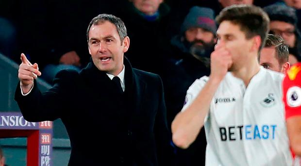 New Swansea boss Paul Clement calls the shots during their 2-1 win last night. Photo: Ian Kington/AFP/Getty Images