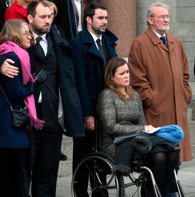 Family and friends of Mr Murray including his daughter Shannon. Photo: Tony Gavin