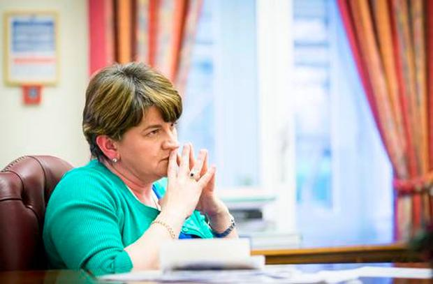 First Minister Arlene Foster at Stormont Castle yesterday