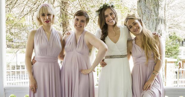 The cast of HBO's Girls, a programme about four young women struggling through their quarter life crises