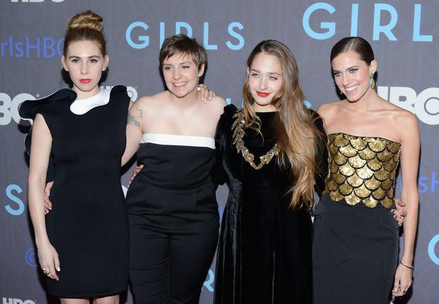 Zosia Mamet, Lena Dunham, Jemima Kirke and Allison Williams, the central cast of HBO's Girls, a programme about four young women struggling through their quarter life crises