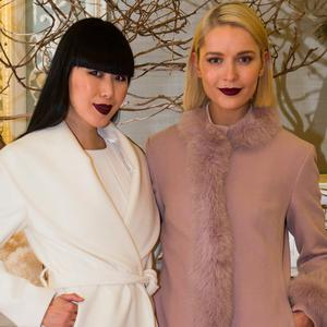 Models Yomiko Chen-Conway and Teodora Sutra at the Umit Kutluk Spring/Summer 2017 preview at his Design Showroom & Atelier in Merrion Square.