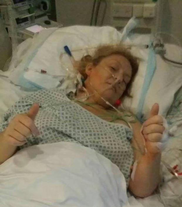 Lynda pictured immediately after her liver transplant