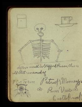 Prisoner Patrick Mooney's skeleton sketch