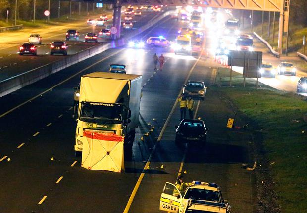 The scene of the accident on the M50 last night. Photo: Damien Eagers