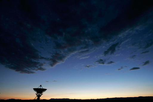 Dusk falls 05 July 2005 over the Very Large Array (VLA), one of the world's premier astronomical radio observatories, on the Plains of San Agustin 50 miles west of Socorro, New Mexico ROBYN BECK/AFP/Getty Images