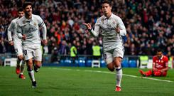 Real Madrid's James Rodriguez celebrates his first goal