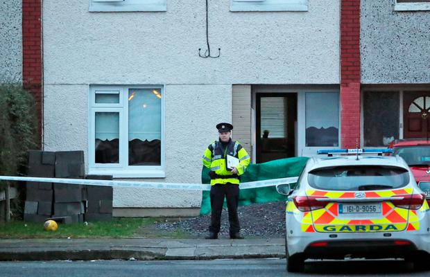 Gardai at the scene of the fatal stabbing of a teenager in Kilclare Cresent, Tallaght this evening... Picture Colin Keegan, Collins Dublin.