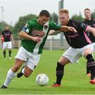 10 July 2016; Mark O'Sullivan of Cork City in action against Daniel Ledwith of Wexford Youths during the SSE Airtricity League Premier Division match between Wexford Youths and Cork City at Ferrycarrig Park in Wexford. Photo by David Maher/Sportsfile