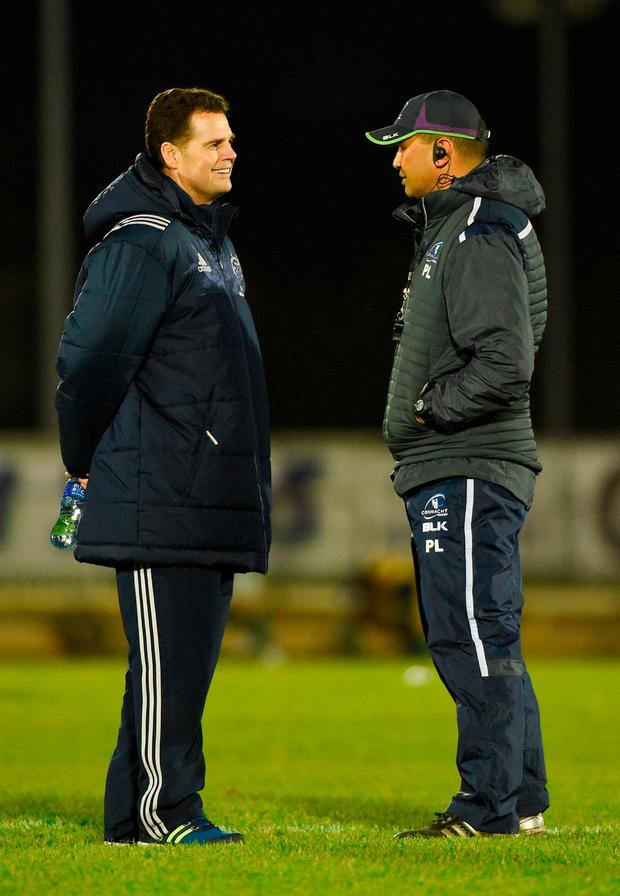Connacht can weather the storm with Pat Lam (pictured with Rassie Erasmus) at the helm. Photo by Diarmuid Greene/Sportsfile
