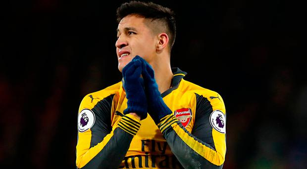 Sánchez threw down his gloves and stormed off the pitch on the final whistle, and was earlier seen shouting in frustration at team-mate Aaron Ramsey. Photo credit: Andrew Matthews/PA Wire