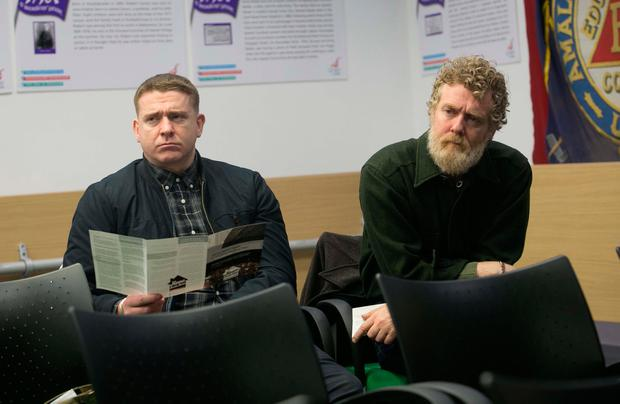 Singers Damien Dempsey and Glen Hansard at a briefing by activist group Home Sweet Home in Dublin yesterday. Photo: Collins