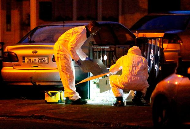 Gardaí investigate the scene in Kilclare Crescent, Jobstown after Reece Cullen was stabbed to death on Thursday. Photo: Collins