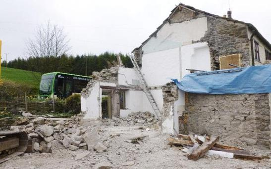 The remains of the building after David Eckersall demolished his home CREDIT: PA / CRAVEN DISTRICT COUNCIL