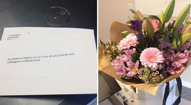 The letter Aoife received from her colleagues to welcome her back to the workplace