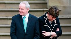Northern Ireland's First Minister Arlene Foster, right, with Deputy First Minister Martin McGuinness. Photo: Brian Lawless/PA