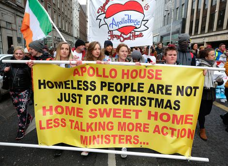 Members of Home sweet home and the Irish housing network on a march from Apollo House to the dept of finance where they called for Michael Noonan, Minister for Finance to make vacant buildings available for housing. Photo: Damien Eagers