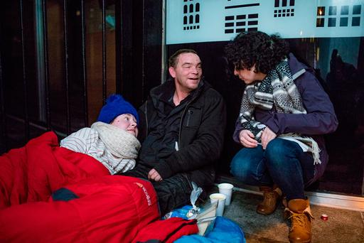 Reporter Jane O'Faherty with homeless couple Natasha Race, Tallaght and Adrian Butler, England. Picture: Arthur Carron