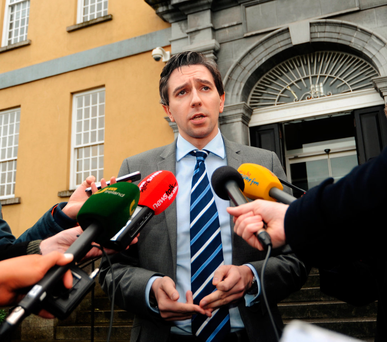 Health Minister Simon Harris speaking to the media after his emergency task force meeting at Dr Steevens' Hospital, Dublin, yesterday. Photo: Caroline Quinn