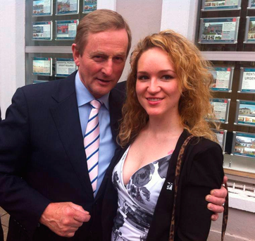 Lyndsey Clarke with Taoiseach Enda Kenny during the local elections in 2014