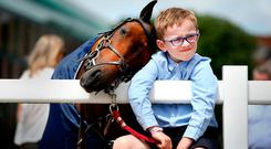 James Derwin (7) with his jumping pony Yorkie at last year's Dublin Horse Show – the image features in the Irish Independent 2017 calendar free with today's paper. Photo: Gerry Mooney