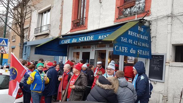 Munster and Racing 92 fans congregate at a bar directly across from the Stade Yves-Du-Manoir
