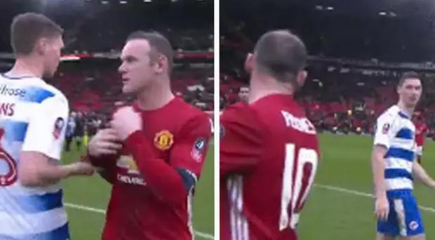 Wayne Rooney is left hanging after appearing to offer his shirt to George Evans