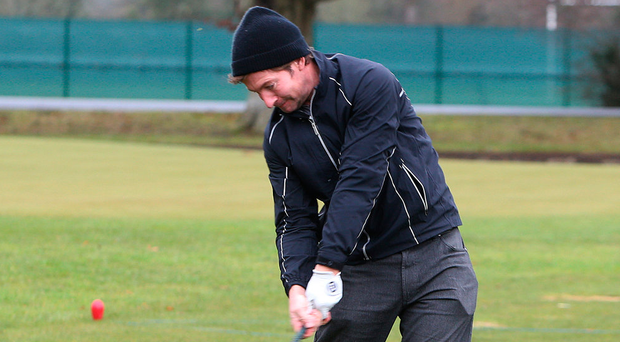 Noel Fox tests out the late Christy O'Connor Senior's driver on the range. Photos: Damien Eagers