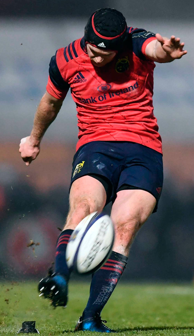 Munster's Tyler Bleyendaal kicks a conversion during the European Rugby Champions Cup match against Racing 92. Photo: Stephen McCarthy/Sportsfile