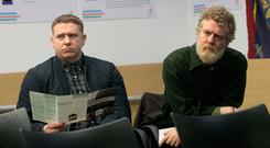 Singers Damien Dempsey and Glen Hansard at a briefing by activist group Home Sweet Home in Dublin Photo: Collins