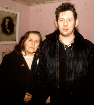 Close: Shane and his mother Therese MacGowan at the family home in Tipperary in 1997 Photo: Martyn Goodacre/Getty Images