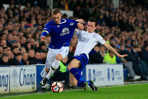 Leicester City's Ben Chillwell challenges Everton's Gerard Deulofeu. Photo: PA