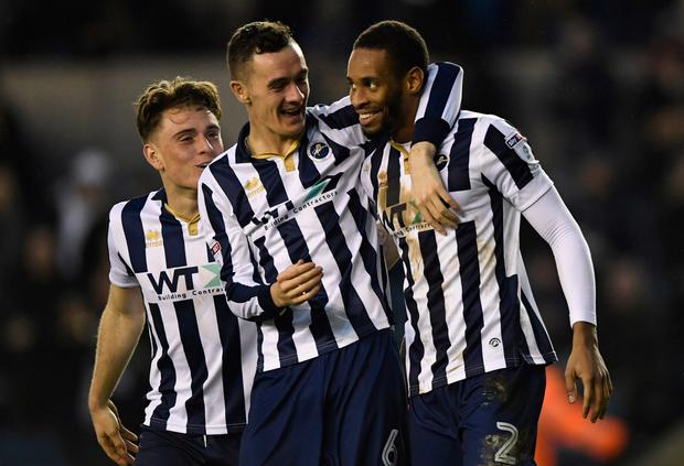 Millwall's Shaun Williams celebrates scoring his side's second goal. Photo: Reuters